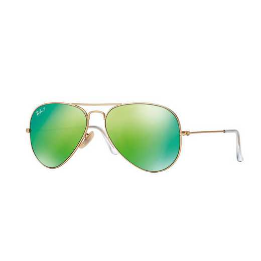 0RB3025112P9: Ray-Ban Polarized Aviator Sunglasses - Matte Gold/GRN Mirror